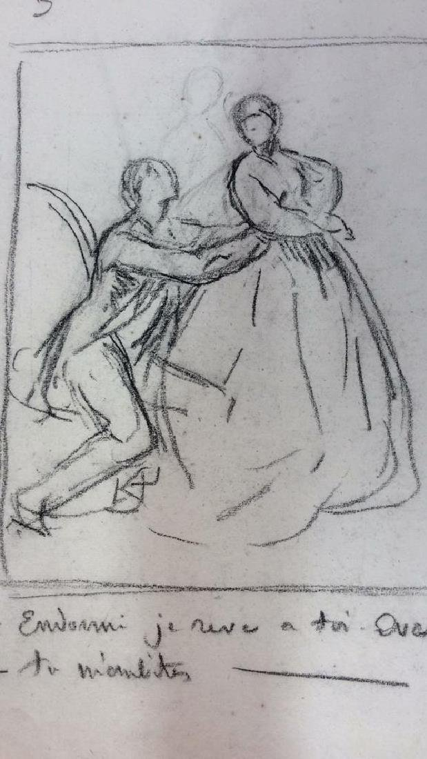 Lot 4 Abel Damourette Charcoal Sketches, France - 4