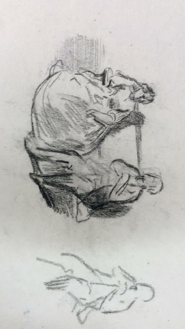 Lot 4 Abel Damourette Charcoal Sketches, France - 5