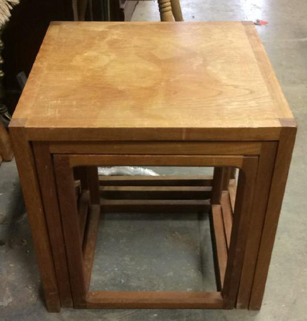 Lot 3 Wooden Nesting Side Tables Various Sized - 5