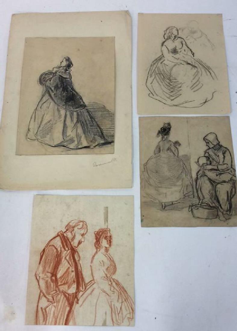 Lot 4 Abel Damourette Charcoal Sketches, France