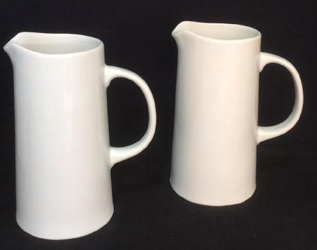 Pair Of Threshold White Porcelain Pitchers - 2