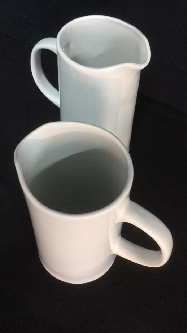 Pair Of Threshold White Porcelain Pitchers - 3