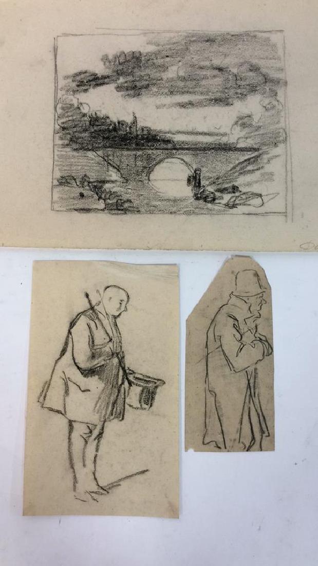 Lot 3 Abel Damourette Charcoal Sketches, France