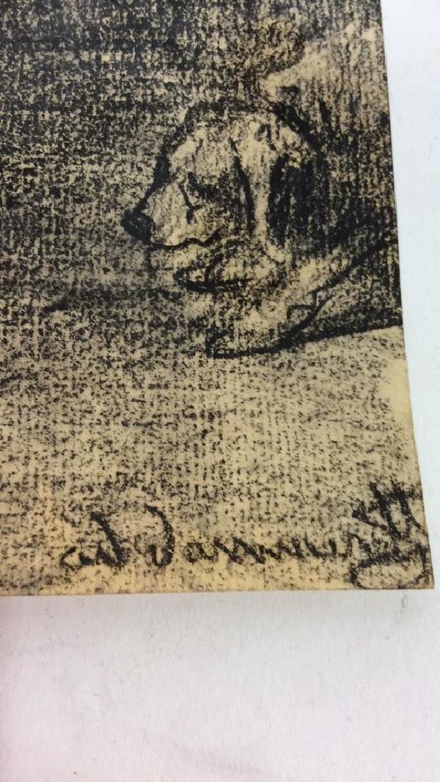 Lot 2 Abel Damourette Charcoal Sketches - 10