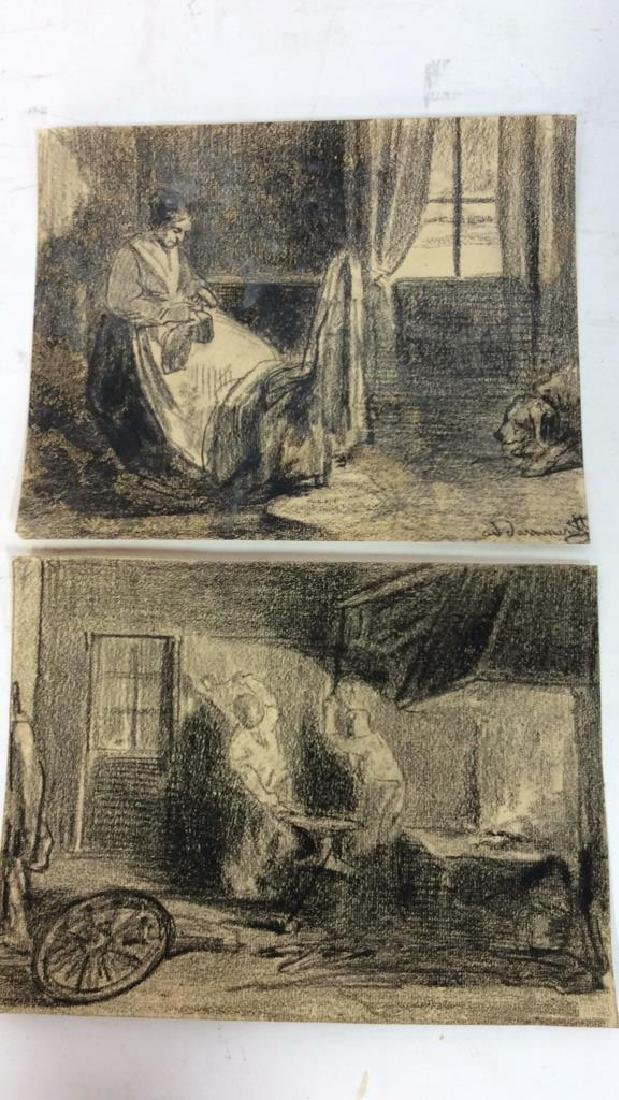 Lot 2 Abel Damourette Charcoal Sketches