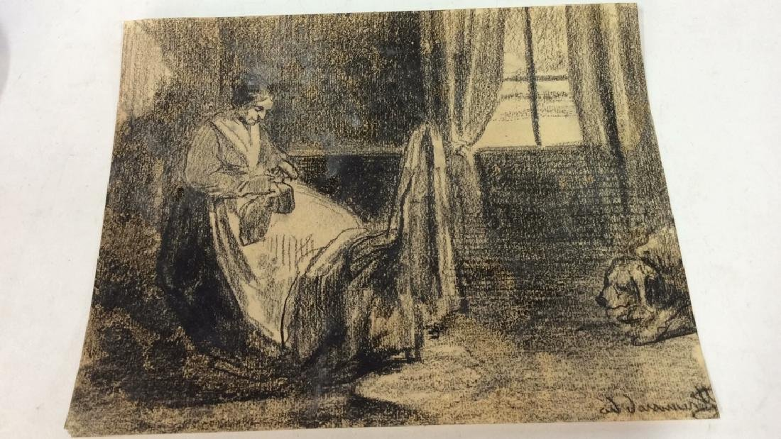 Lot 2 Abel Damourette Charcoal Sketches - 7