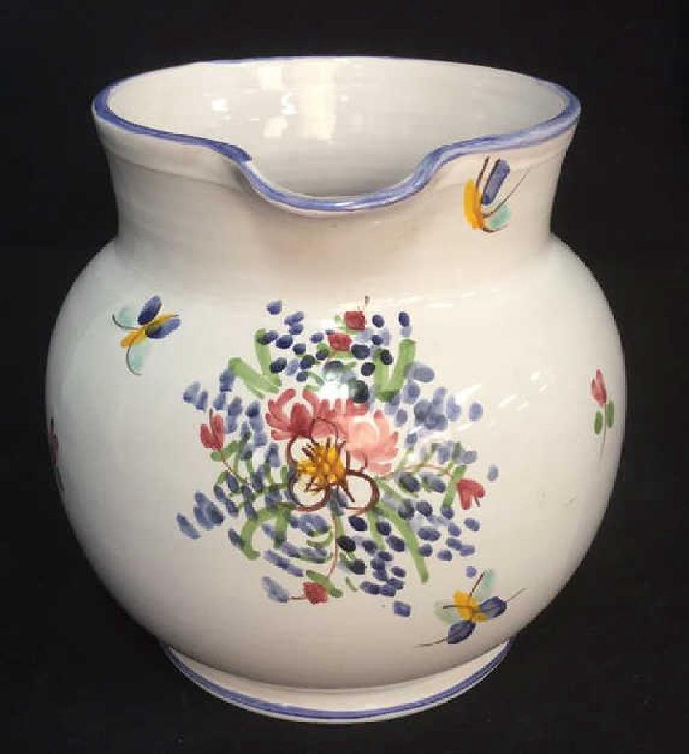 Hand Painted Ceramic Pitcher With Floral Motif