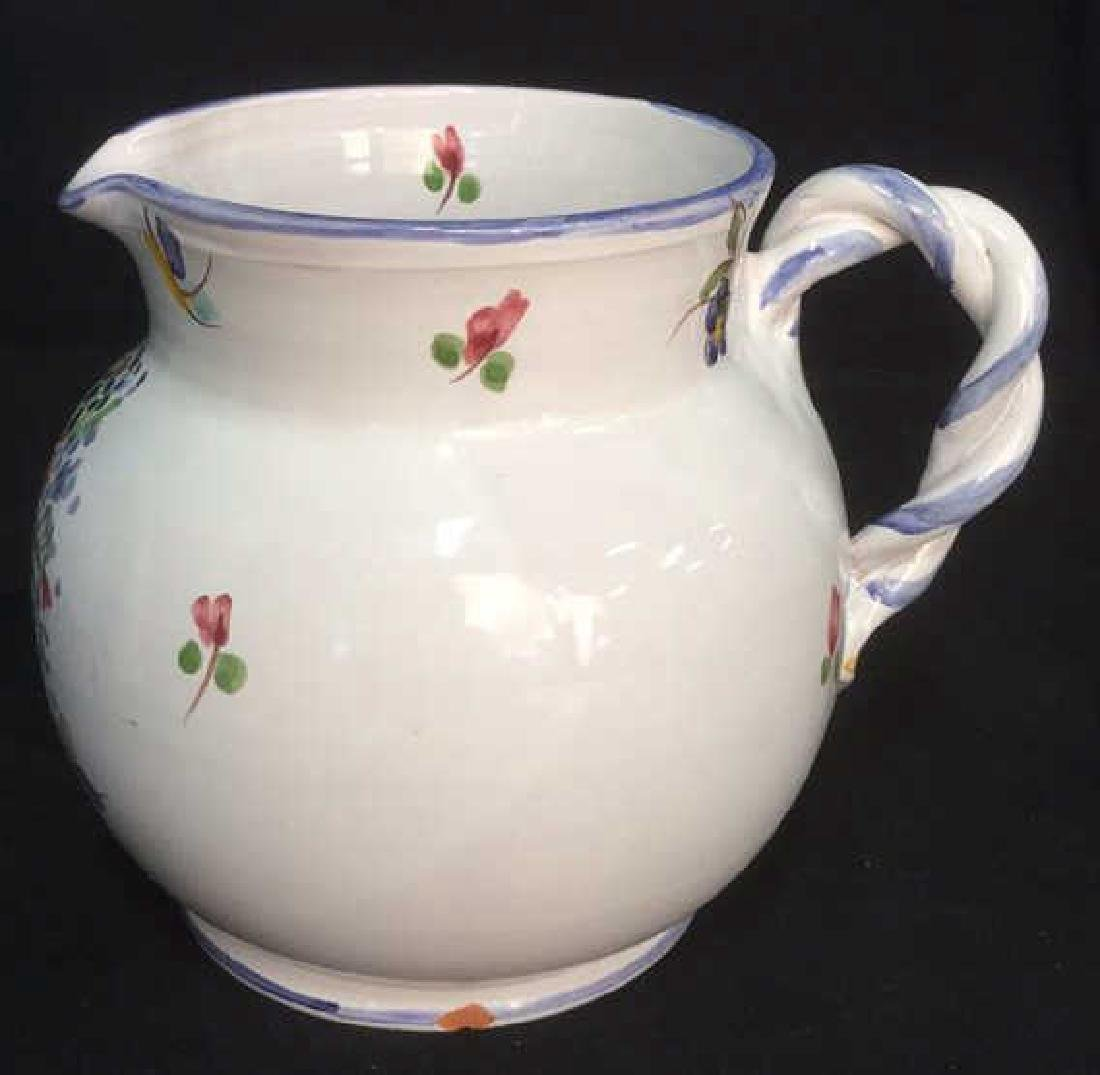 Hand Painted Ceramic Pitcher With Floral Motif - 2