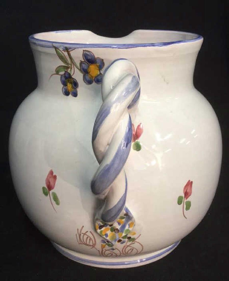 Hand Painted Ceramic Pitcher With Floral Motif - 3