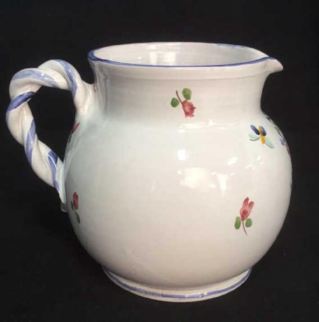 Hand Painted Ceramic Pitcher With Floral Motif - 4