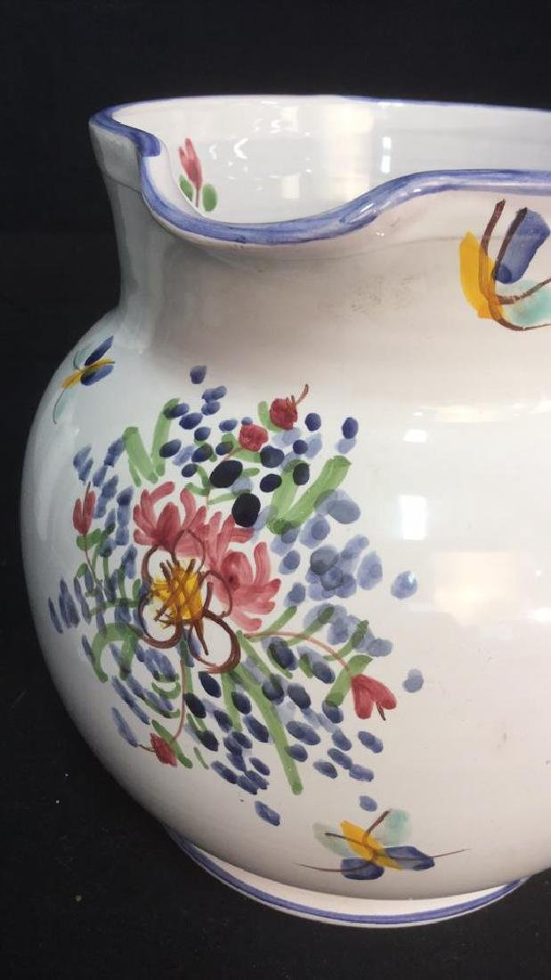 Hand Painted Ceramic Pitcher With Floral Motif - 7