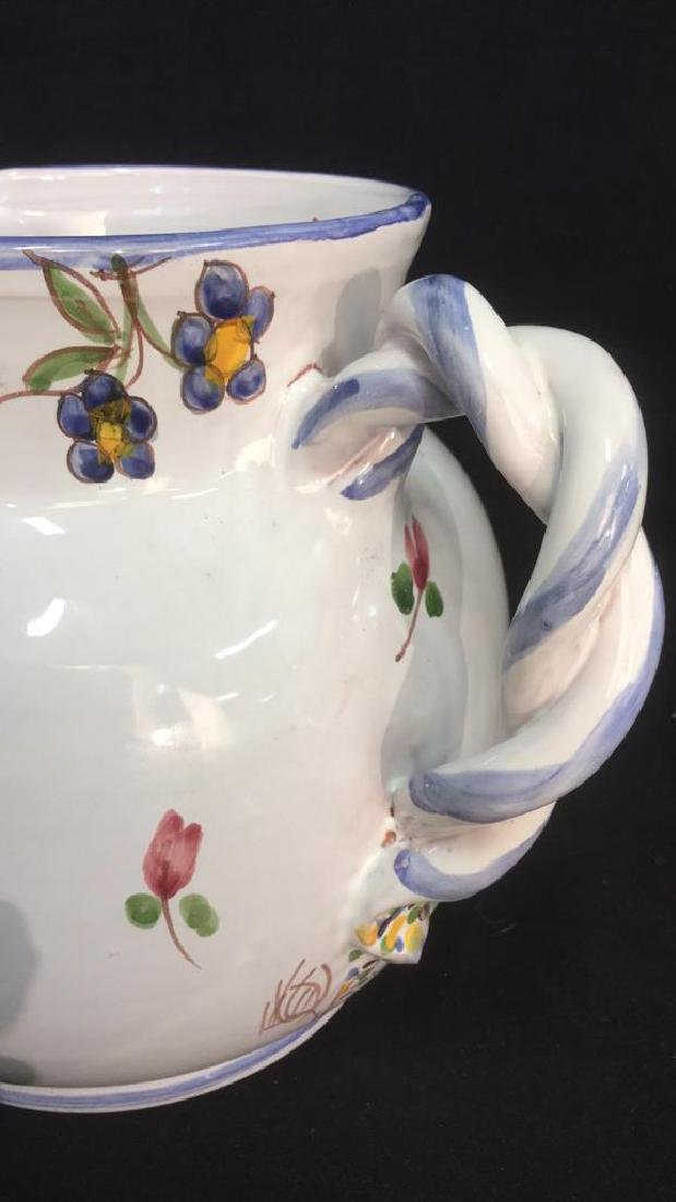 Hand Painted Ceramic Pitcher With Floral Motif - 8