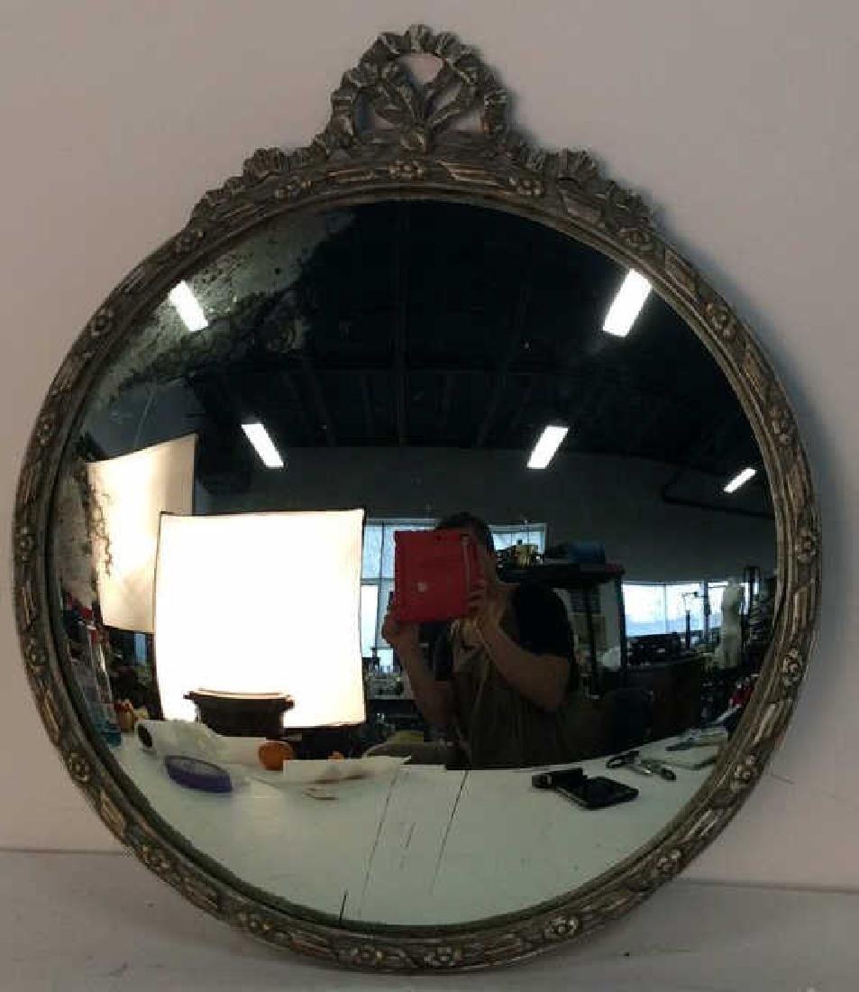 Round Vintage Wood Framed Mirror
