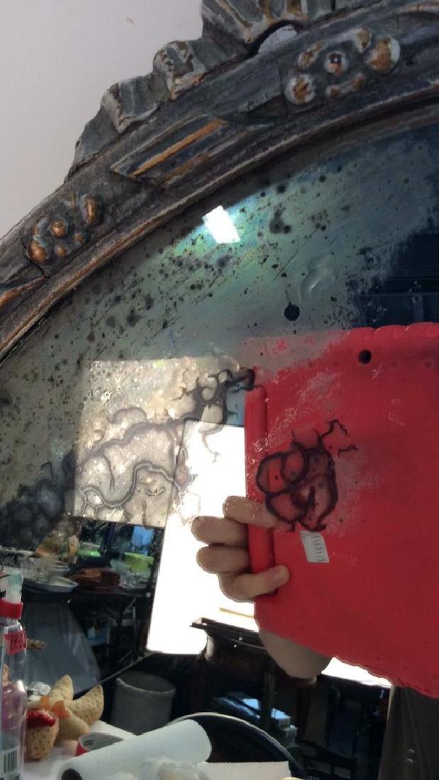 Round Vintage Wood Framed Mirror - 3