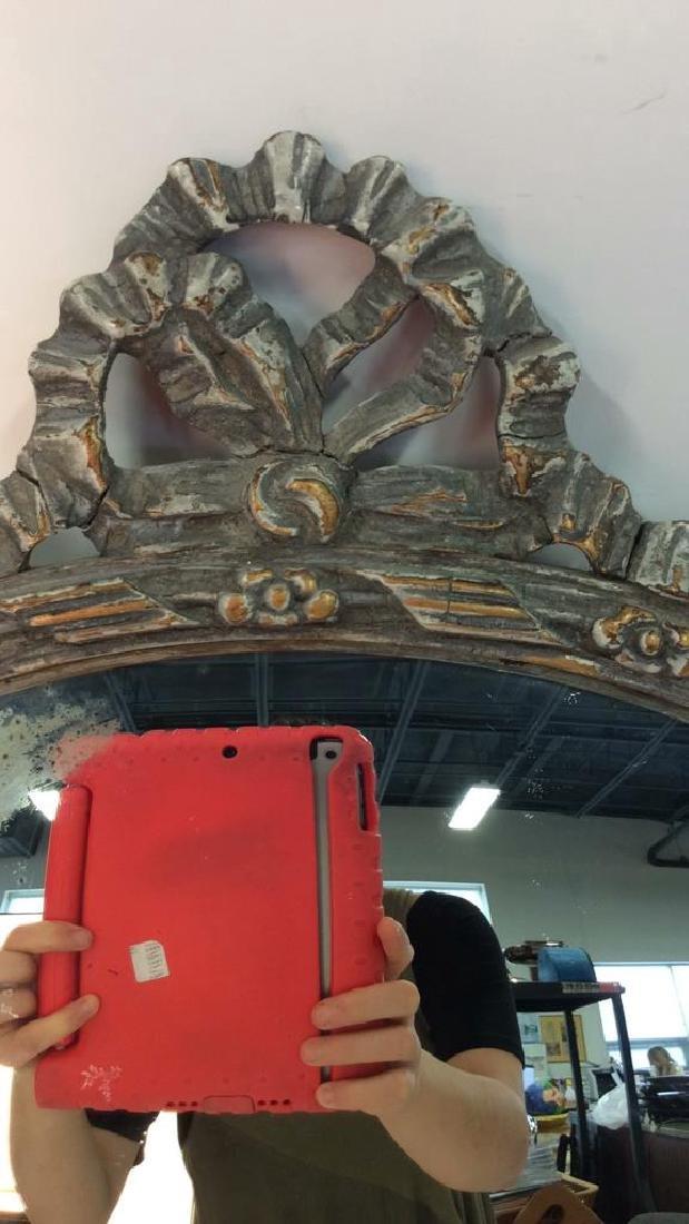 Round Vintage Wood Framed Mirror - 4
