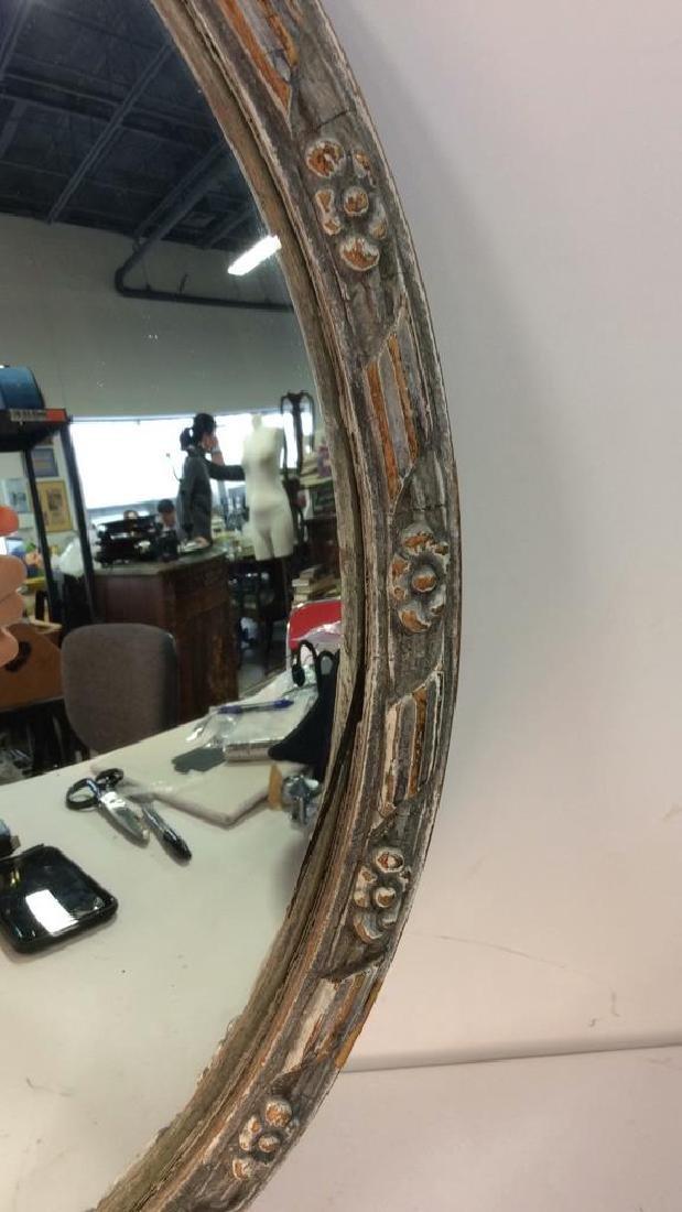 Round Vintage Wood Framed Mirror - 5