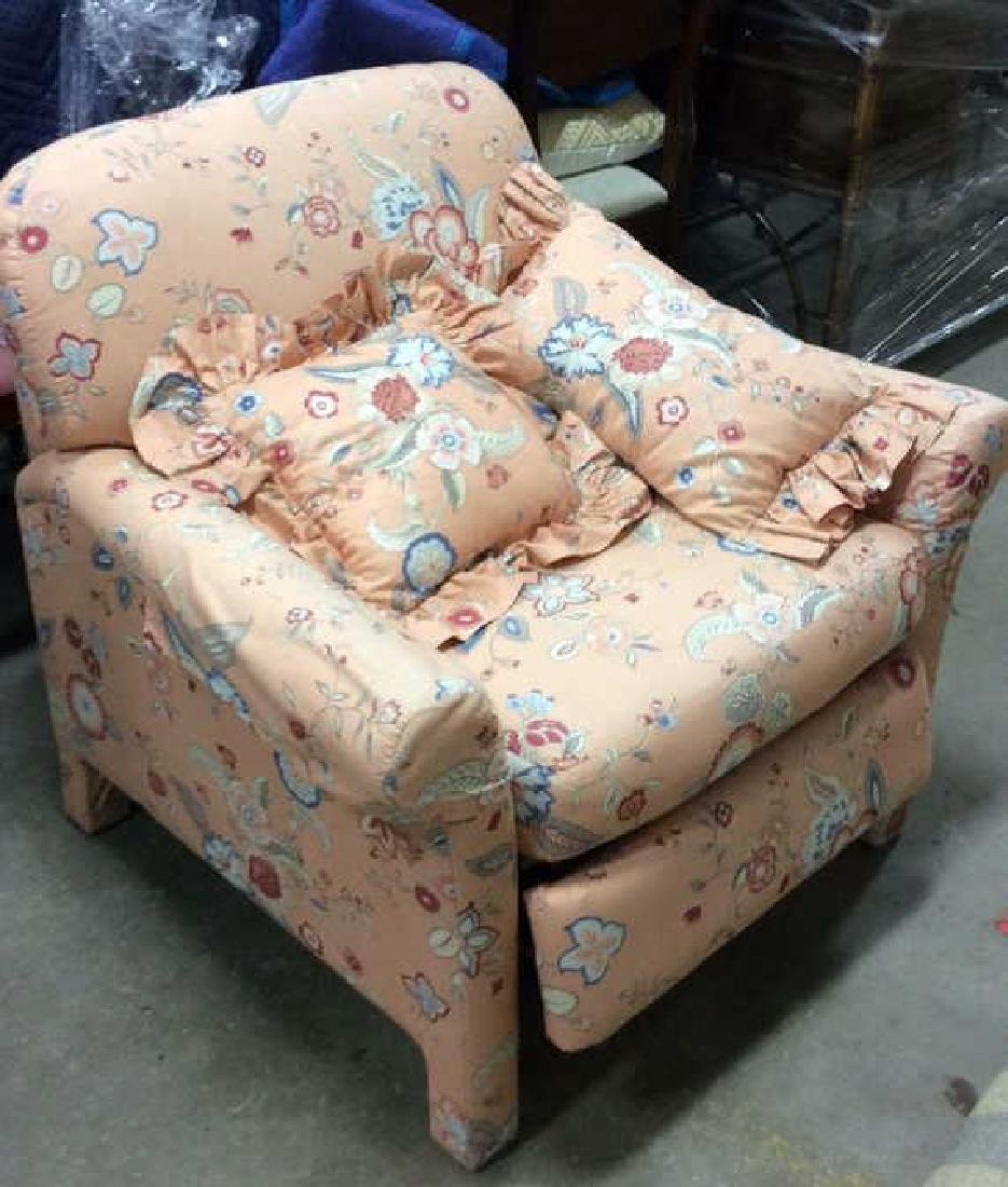 Peach Toned Floral Pattern Upholstered Recliner