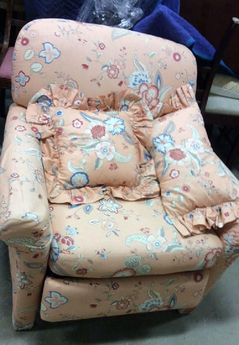 Peach Toned Floral Pattern Upholstered Recliner - 2