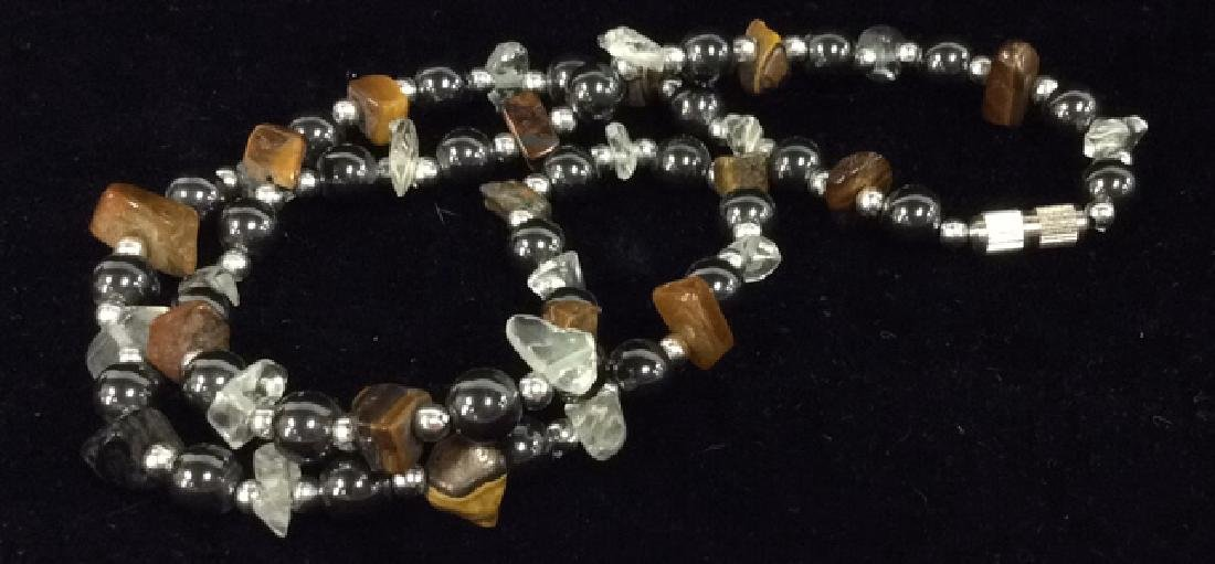 Natural Stone And Metal Beaded Necklace