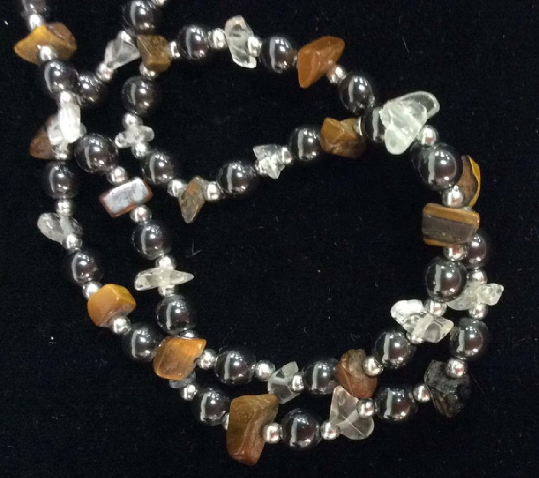 Natural Stone And Metal Beaded Necklace - 2