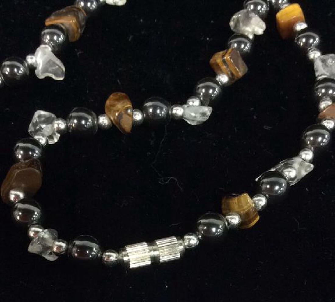 Natural Stone And Metal Beaded Necklace - 4