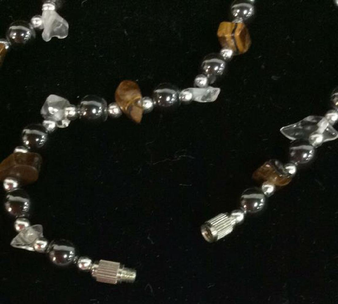 Natural Stone And Metal Beaded Necklace - 5