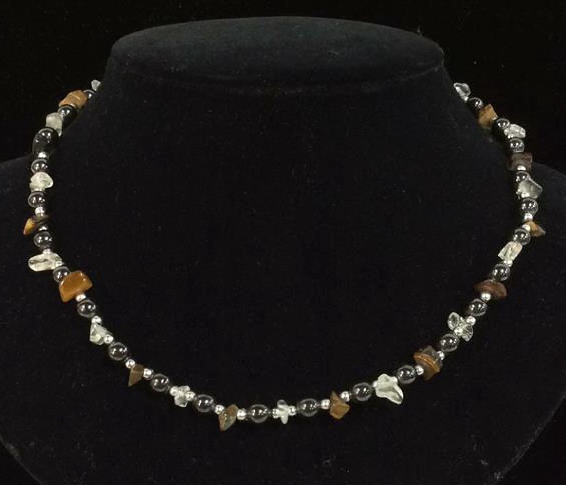 Natural Stone And Metal Beaded Necklace - 6