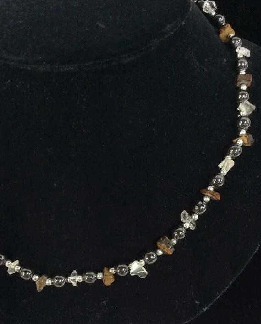Natural Stone And Metal Beaded Necklace - 7