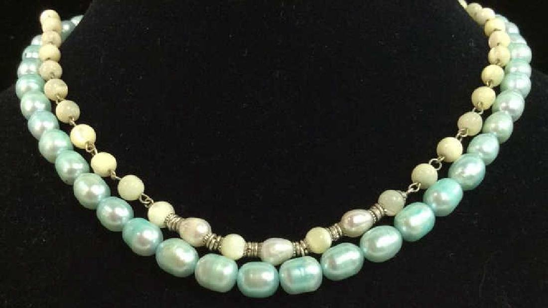 Lot 2 Pearl and Natural Stone Beaded Necklaces