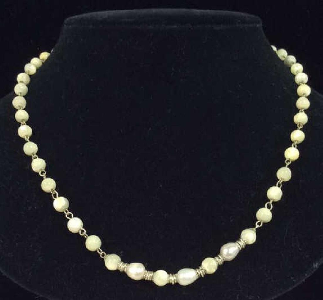 Lot 2 Pearl and Natural Stone Beaded Necklaces - 3