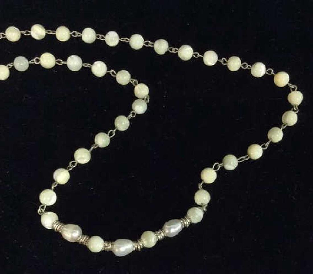 Lot 2 Pearl and Natural Stone Beaded Necklaces - 4