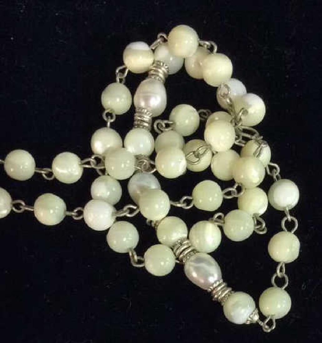 Lot 2 Pearl and Natural Stone Beaded Necklaces - 5