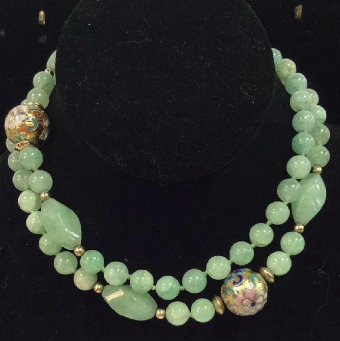 Poss Jadeite Beaded Necklace W Cloisonné Beads