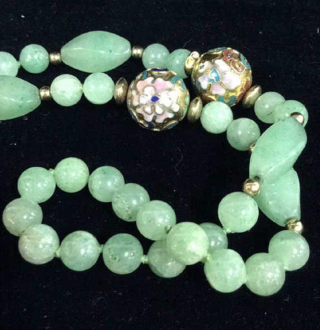 Poss Jadeite Beaded Necklace W Cloisonné Beads - 2