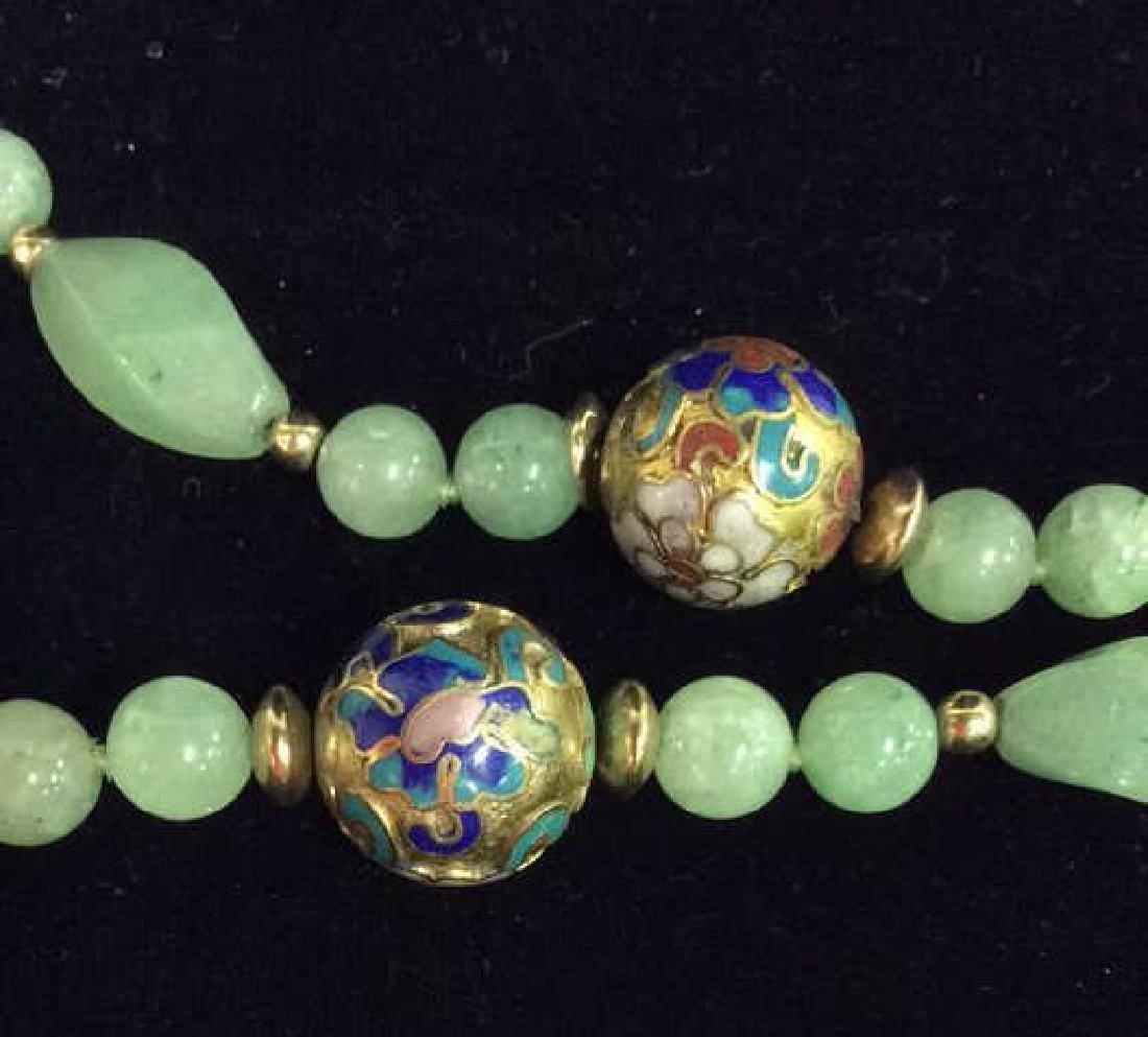 Poss Jadeite Beaded Necklace W Cloisonné Beads - 3