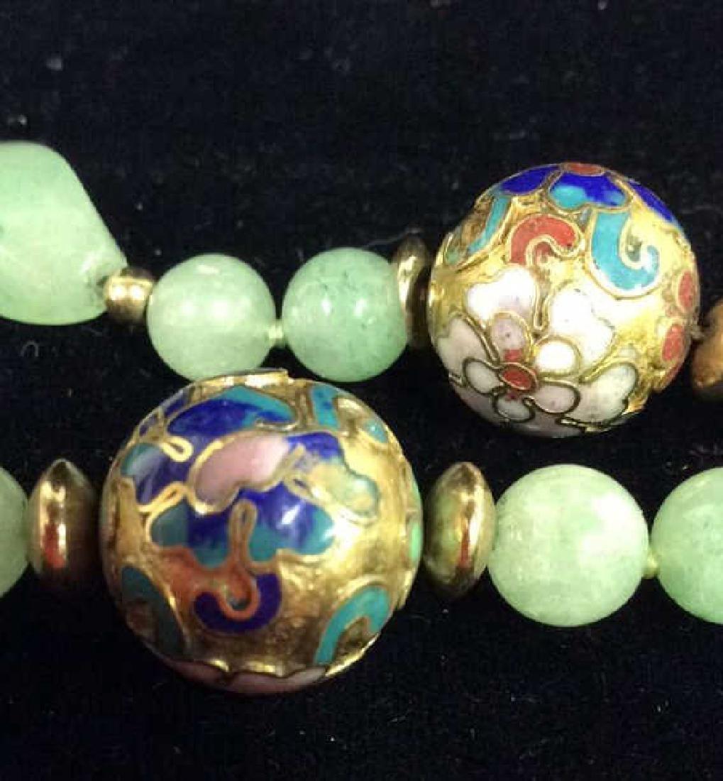 Poss Jadeite Beaded Necklace W Cloisonné Beads - 4