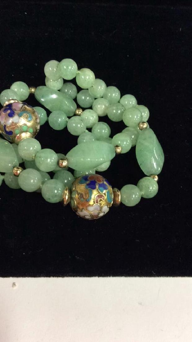 Poss Jadeite Beaded Necklace W Cloisonné Beads - 6