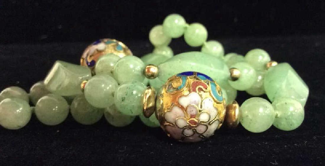 Poss Jadeite Beaded Necklace W Cloisonné Beads - 7