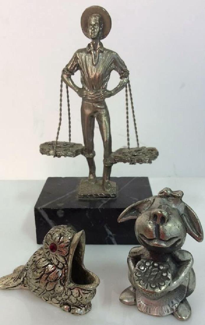 Lot 3 Silver Toned Metal Figurines Collectibles