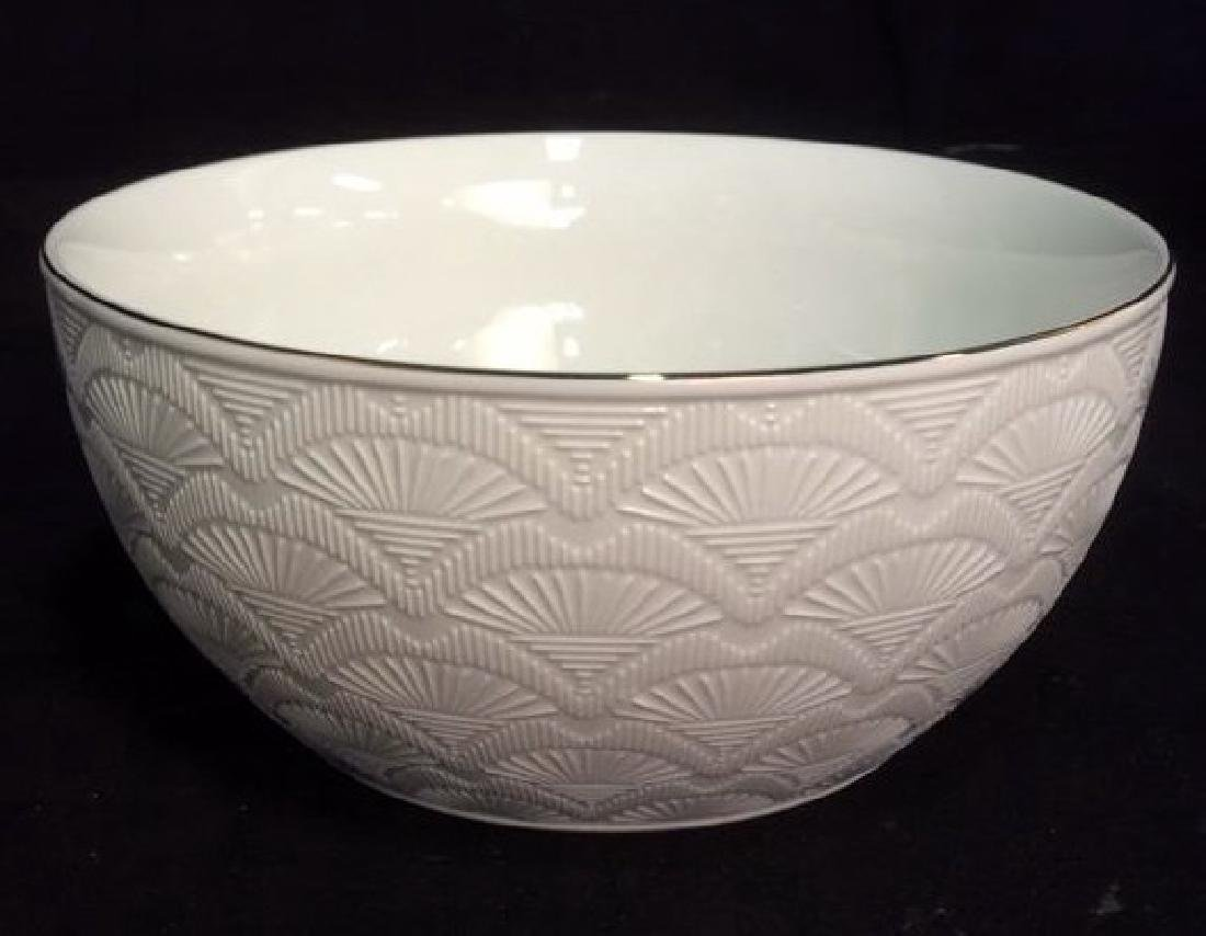 White Porcelain Serving Bowl With Gold Toned Rim - 2