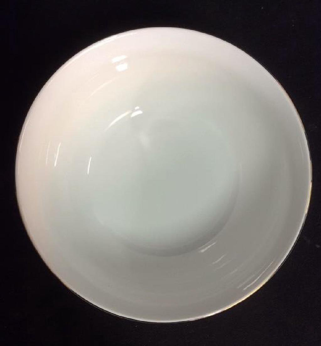 White Porcelain Serving Bowl With Gold Toned Rim - 4
