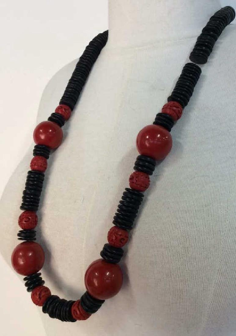 Red Black Carved Wooden Beaded Necklace - 2