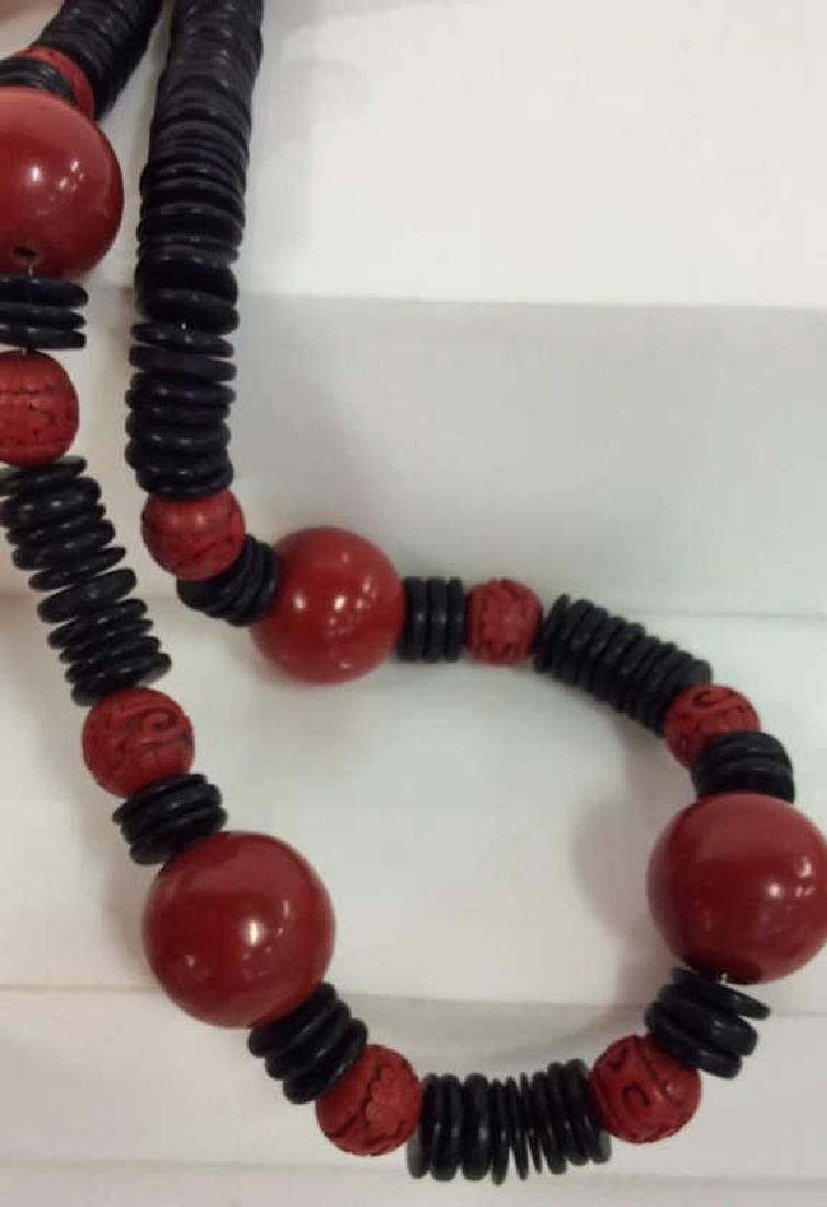 Red Black Carved Wooden Beaded Necklace - 3