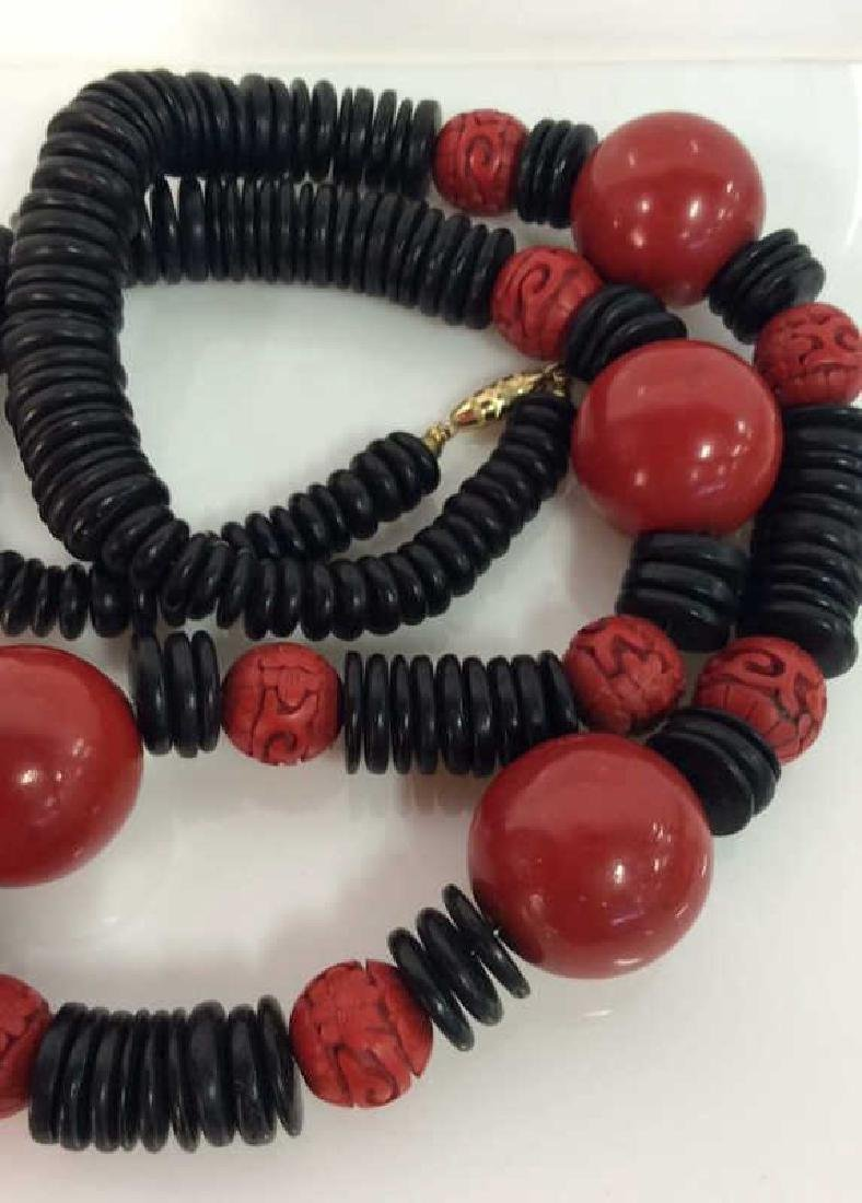 Red Black Carved Wooden Beaded Necklace - 4