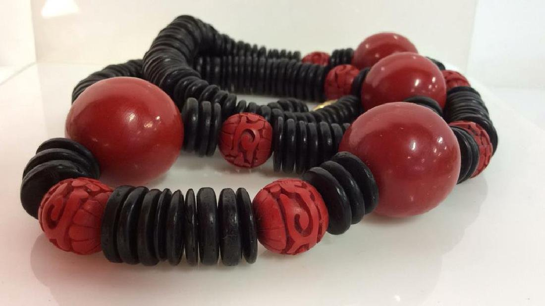 Red Black Carved Wooden Beaded Necklace - 5