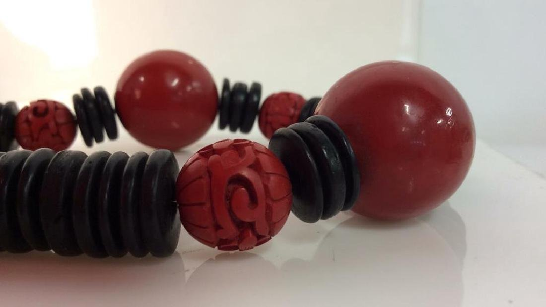 Red Black Carved Wooden Beaded Necklace - 8