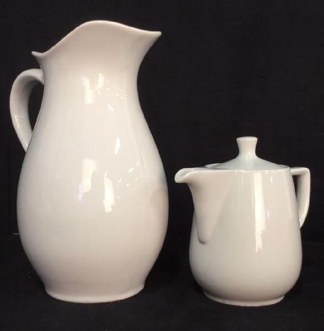 Lot 2 White Porcelain Pitcher & Teapot