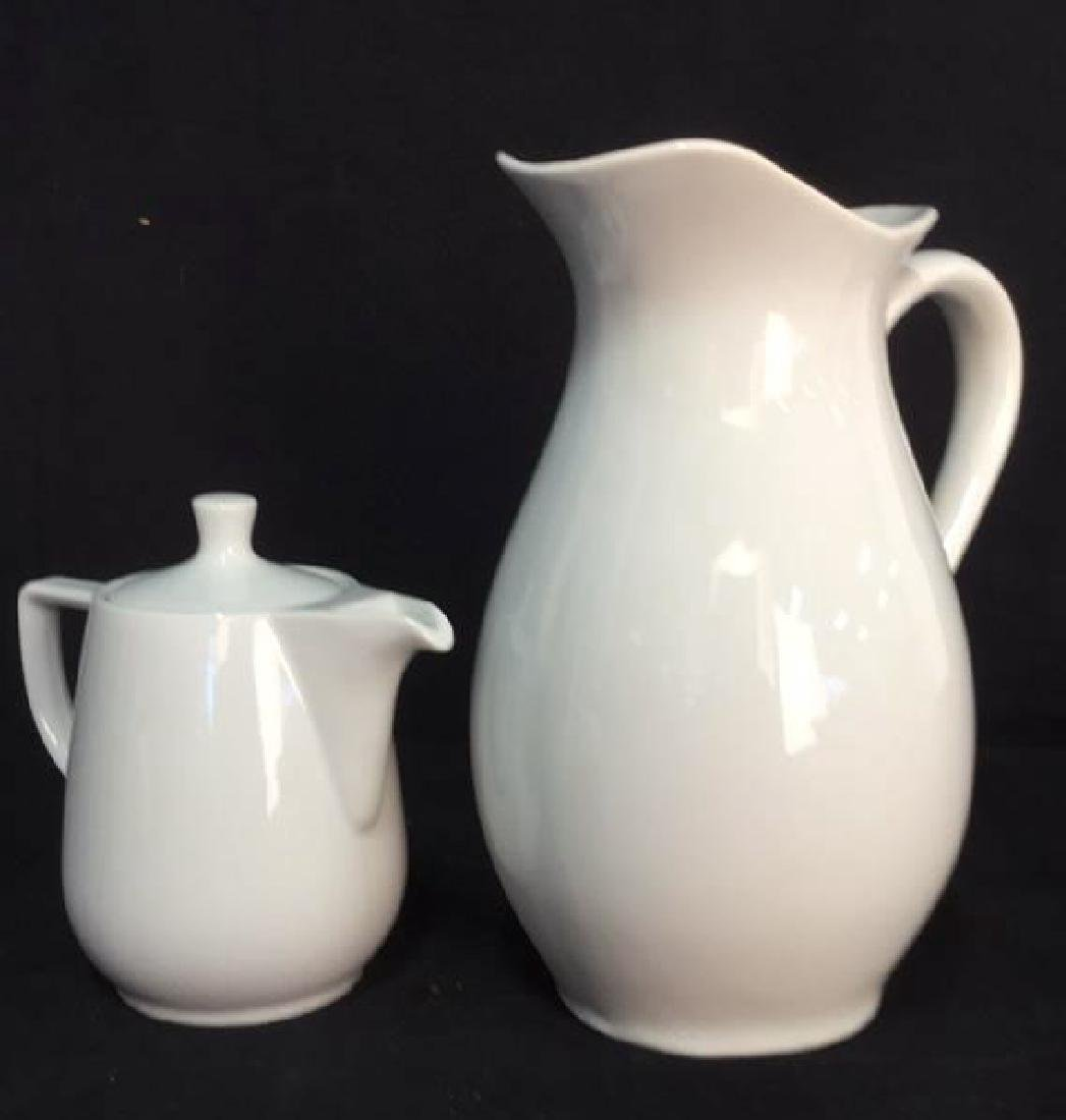 Lot 2 White Porcelain Pitcher & Teapot - 2