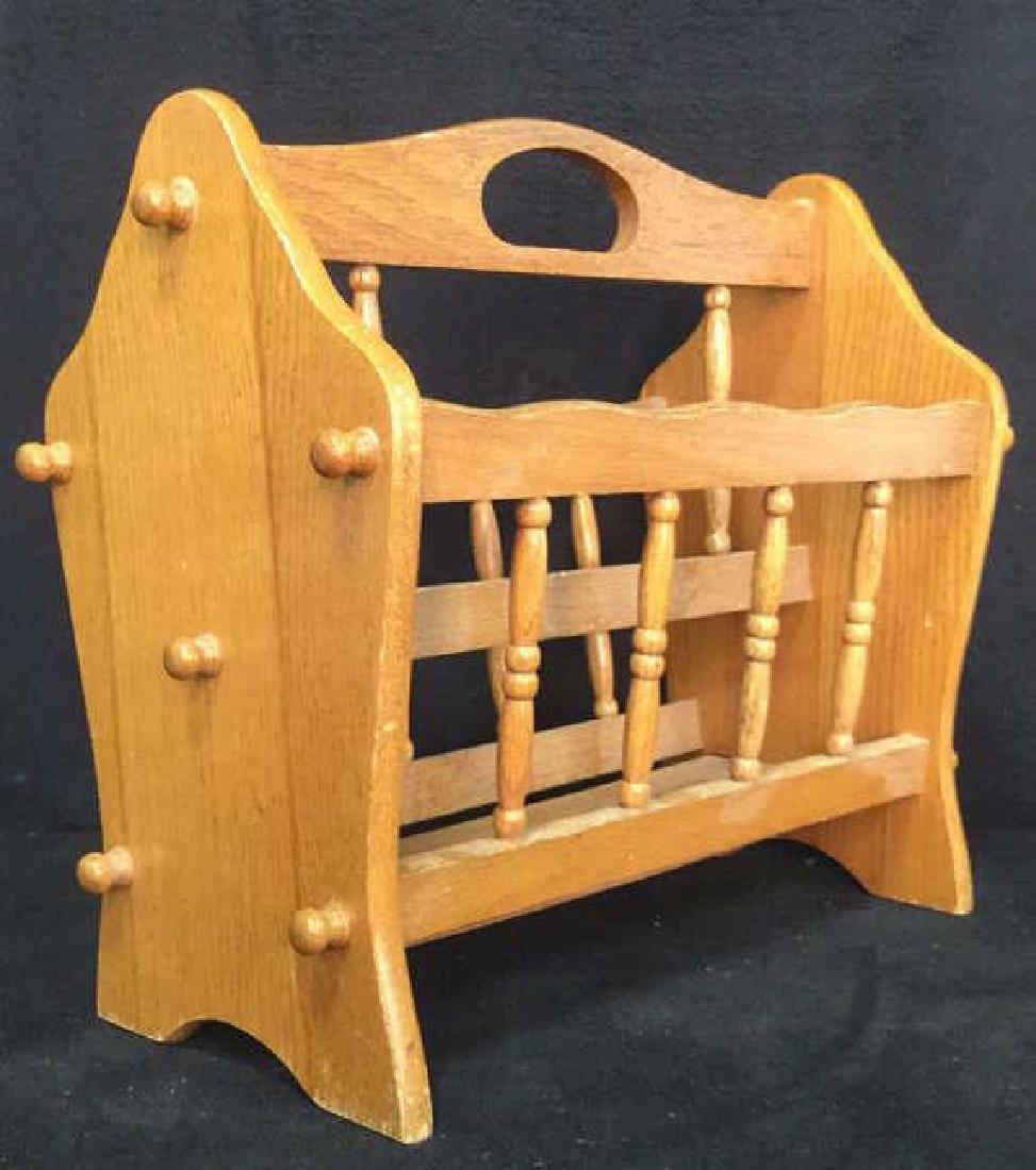 Carved Wooden Magazine Holder - 3