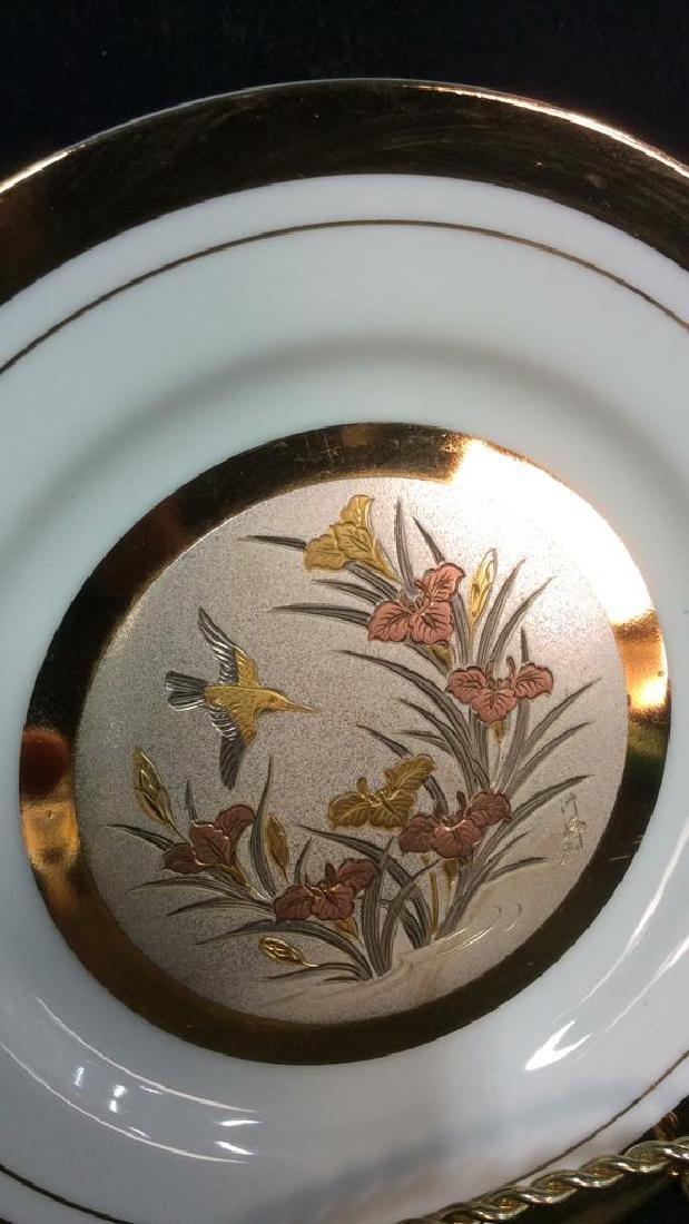 Porcelain And Metal Japanese Chokin Plate